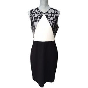 PERIPHERY Black & White Fitted Sleeveless Dress L